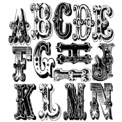 Tim Holtz Cling Mount Stamps - Cirque Alphabet CMS065