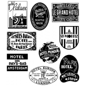 Tim Holtz Cling Mount Stamps - Travel Labels CMS108