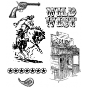 Tim Holtz Cling Mount Stamps - Wild West CMS109