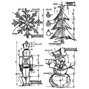 Tim Holtz Cling Mount Stamps - Christmas Blueprint CMS135