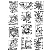 Tim Holtz Cling Mount Stamps - Mini Blueprints CMS136