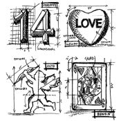 Tim Holtz Cling Mount Stamps - Valentine Blueprint CMS143