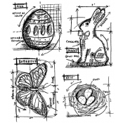 Tim Holtz Cling Mount Stamps - Easter Blueprint CMS144