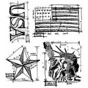Tim Holtz Cling Mount Stamps - Americana Blueprint CMS145