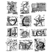 Tim Holtz Cling Mount Stamps - Mini Blueprints 2 CMS146