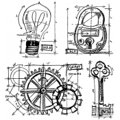 Tim Holtz Cling Mount Stamps - Industrial Blueprint CMS149