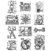 Tim Holtz Cling Mount Stamps - Mini Blueprints 3 CMS150