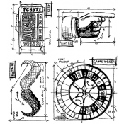 Tim Holtz Cling Mount Stamps - Ringmaster Blueprint CMS151
