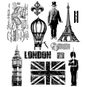 Tim Holtz Cling Mount Stamps - Paris to London CMS160