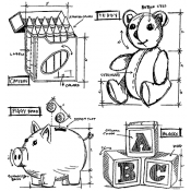 Tim Holtz Cling Mount Stamps - Childhood Blueprint CMS229