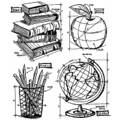Tim Holtz Cling Mount Stamps - Schoolhouse Blueprint CMS230