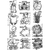 Tim Holtz Cling Mount Stamps - Mini Blueprints 8 CMS231