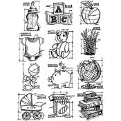 Tim Holtz Cling Mount Stamps - Mini Blueprints 8 CMS231
