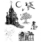 Tim Holtz Cling Mount Stamps - Haunted House CMS308