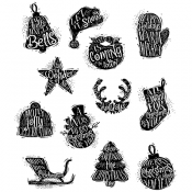 Tim Holtz Cling Mount Stamps - Mini Carved Christmas CMS316