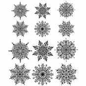 Tim Holtz Cling Mount Stamps - Mini Swirly Snowflakes CMS320