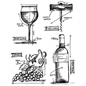 Tim Holtz Cling Mount Stamps - Wine Blueprint CMS333