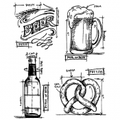 Tim Holtz Cling Mount Stamps - Beer Blueprint CMS334