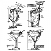 Tim Holtz Cling Mount Stamps - Cocktails Blueprint CMS335