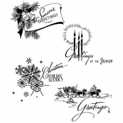 Tim Holtz Cling Mount Stamps: Holiday Greetings CMS353