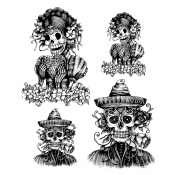 Tim Holtz Cling Mount Stamps - Day of the Dead #1 CMS277