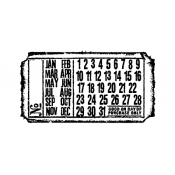 Tim Holtz Wood Mounted Stamp - Calendar Ticket G2-1606