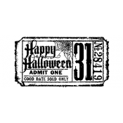Tim Holtz Wood Mounted Stamp - Halloween Ticket G2-1608