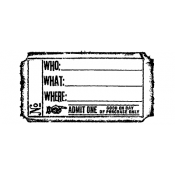 Tim Holtz Wood Mounted Stamp - Who What Where Ticket G2-1611