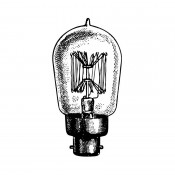 Tim Holtz Wood Mounted Stamp - Laboratory Bulb G2-3296