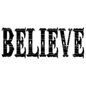 Tim Holtz Wood Mounted Stamp - Believe J3-1245