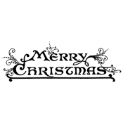 Tim Holtz Wood Mounted Stamp - Merry Christmas J3-1570