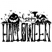 Tim Holtz Wood Mounted Stamp - Haunted Happy Halloween K5-3057