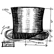 Tim Holtz Wood Mounted Stamp - Top Hat Sketch M2-2349