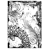 Tim Holtz Wood Mounted Stamp - Flourish Collage P4-1292