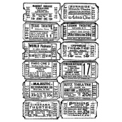 Tim Holtz Wood Mounted Stamp - Ticket Collage P4-1298