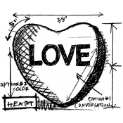 Tim Holtz Wood Mounted Stamp - Heart Sketch M4-2061