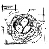 Tim Holtz Wood Mounted Stamp - Nest Sketch M4-2065
