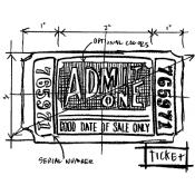 Tim Holtz Wood Mounted Stamp - Ticket Sketch M4-2085