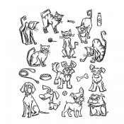 Tim Holtz Cling Mount Stamps - Mini Cats & Dogs CMS272