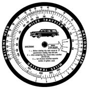 Tim Holtz Wood Mounted Stamp - Mileage Wheel P1-1807