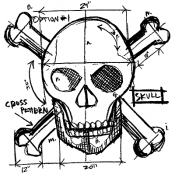 Tim Holtz Wood Mounted Stamp - Skull Sketch P1-1942