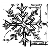 Tim Holtz Wood Mounted Stamp - Snowflake Sketch P1-1946