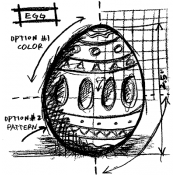 Tim Holtz Wood Mounted Stamp - Egg Sketch P1-2066