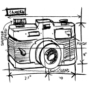 Tim Holtz Wood Mounted Stamp - Camera Sketch P1-2077