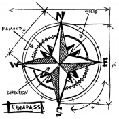 Tim Holtz Wood Mounted Stamp - Compass Sketch P1-2078