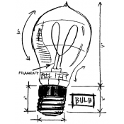 Tim Holtz Wood Mounted Stamp - Lightbulb Sketch P1-2082