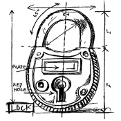 Tim Holtz Wood Mounted Stamp - Lock Sketch P1-2083