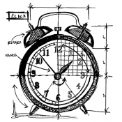 Tim Holtz Wood Mounted Stamp - Clock Sketch P1-2089