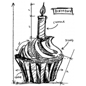 Tim Holtz Wood Mounted Stamp - Birthday Sketch P1-2094