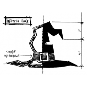 Tim Holtz Wood Mounted Stamp - Witch Hat Sketch P1-2412